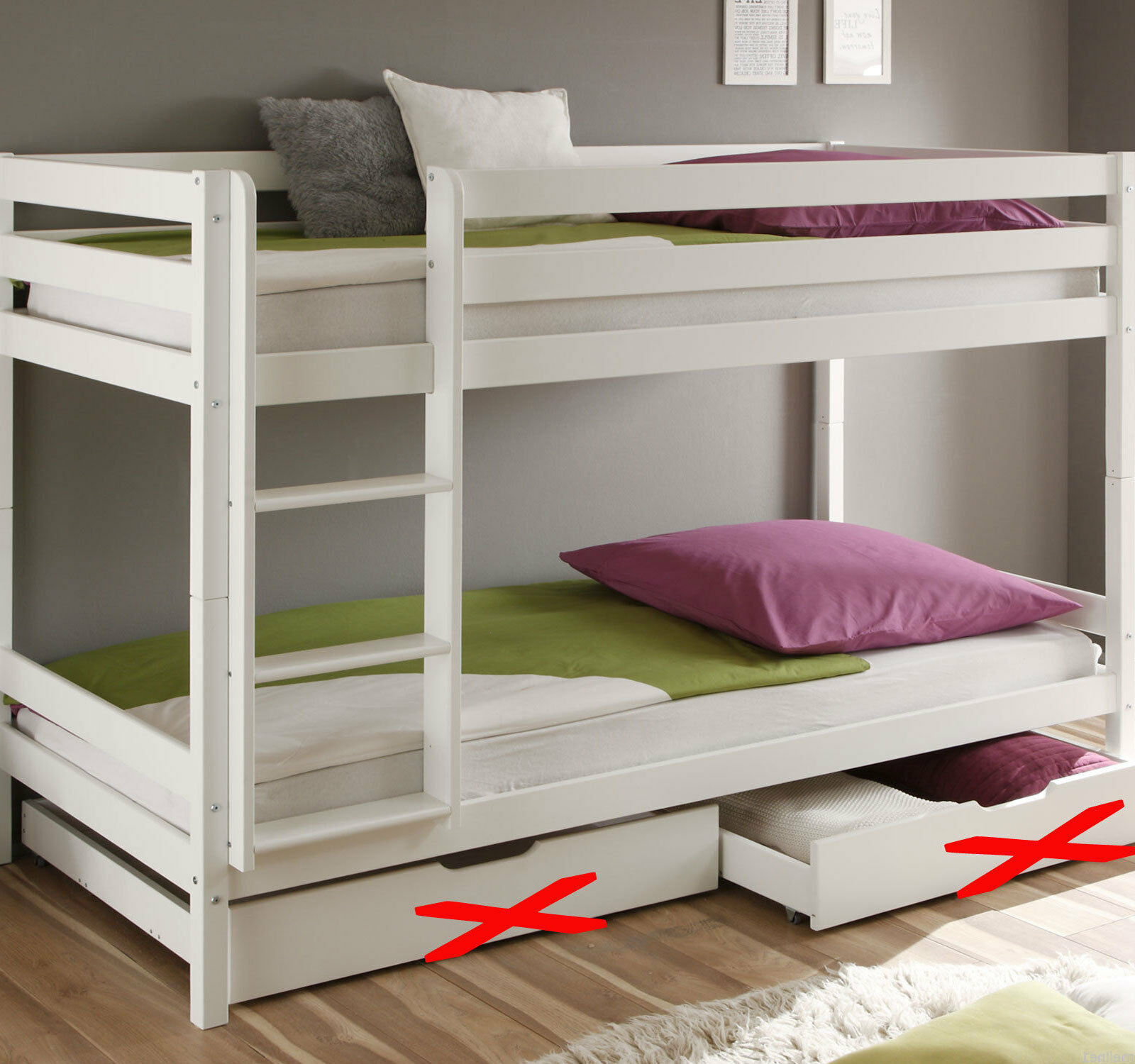 kinderbett etagenbett weiss hochbett spielbett massiv stockbett 90 x 200 cm bett eur 122 55. Black Bedroom Furniture Sets. Home Design Ideas