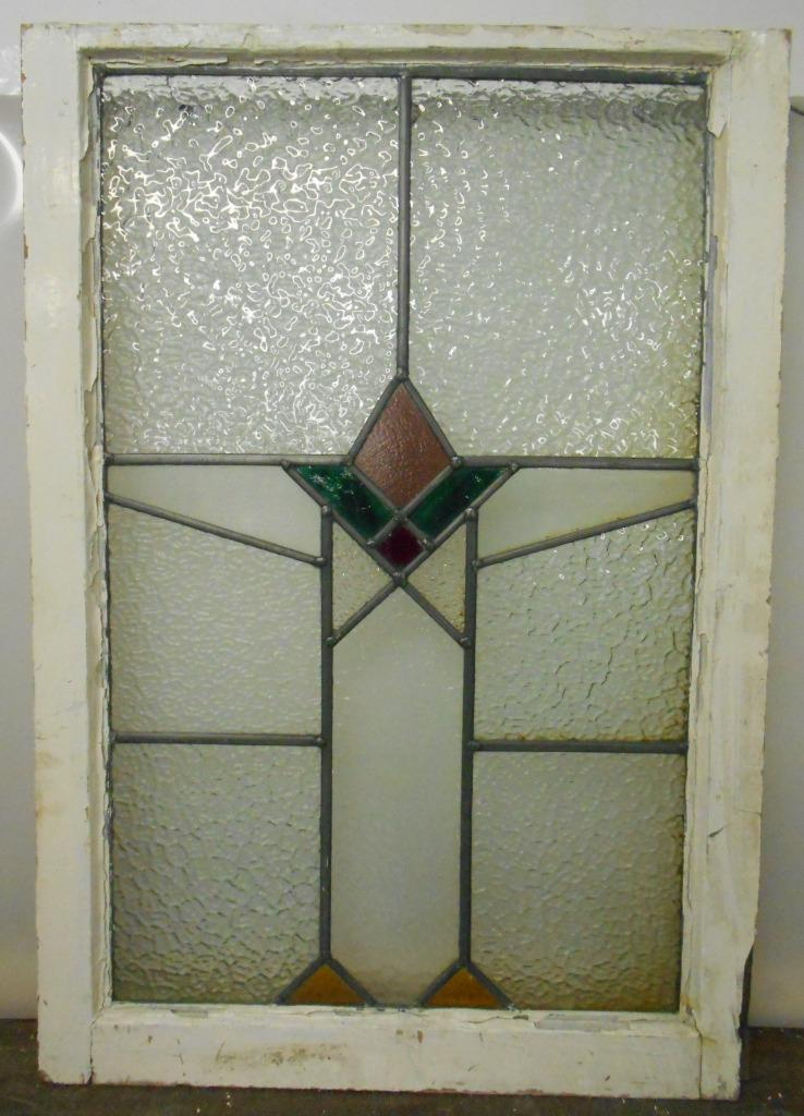 """MID SIZED OLD ENGLISH LEADED STAINED GLASS WINDOW Geometric 21"""" x 30.5"""""""
