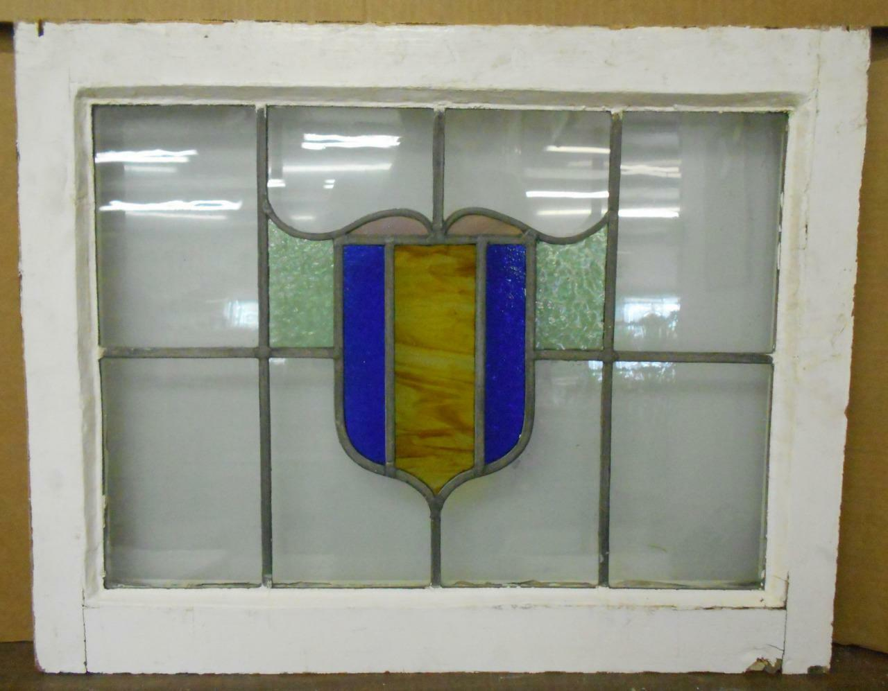 """MID SIZED OLD ENGLISH LEADED STAINED GLASS WINDOW Colorful Abstract 27.75"""" x 22"""