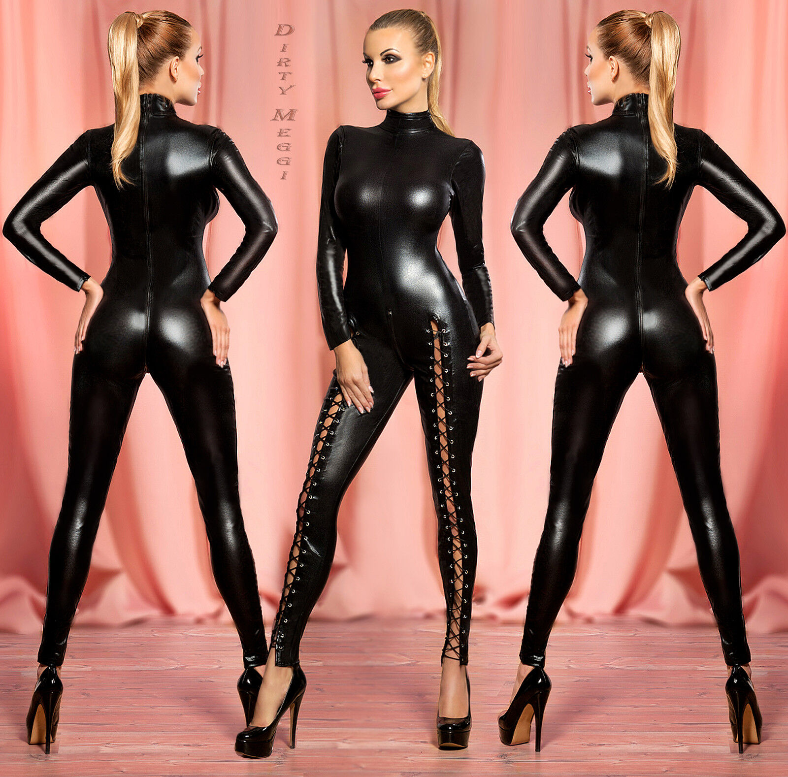 Sexy Catsuit Overall Body Clubwear Party Wetlook Gr. XS-S 34 36