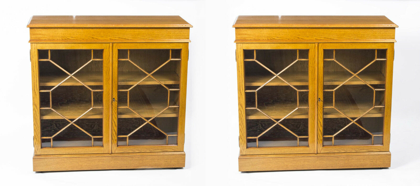 Vintage Pair Sheraton Style Oak Bookcases Cabinets