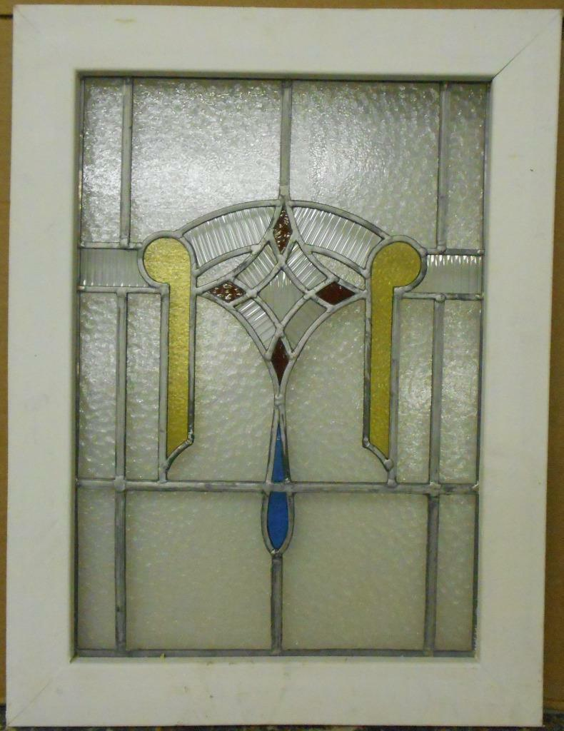 "MID SIZED OLD ENGLISH LEADED STAINED GLASS WINDOW Geometric Drop 20.75"" x 27.25"""