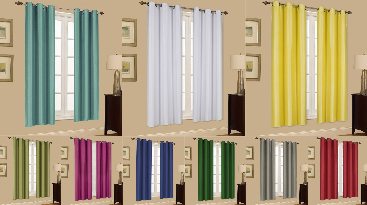 2 Panels Grommet Faux Silk Window Curtains Drape Foam Lined Blackout Thermal K32 1 Of 1FREE Shipping See More