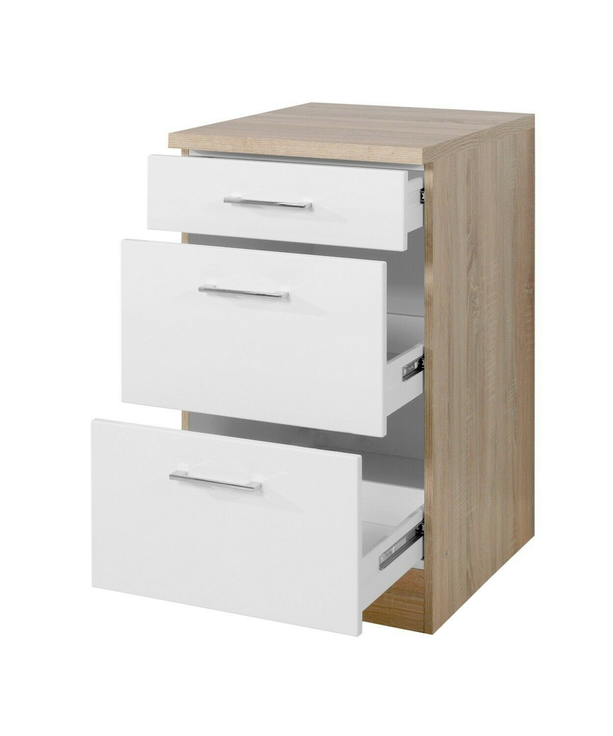 k chen unterschrank lissabon k chenschrank mit schubladen 50cm weiss sonoma eur 139 99. Black Bedroom Furniture Sets. Home Design Ideas