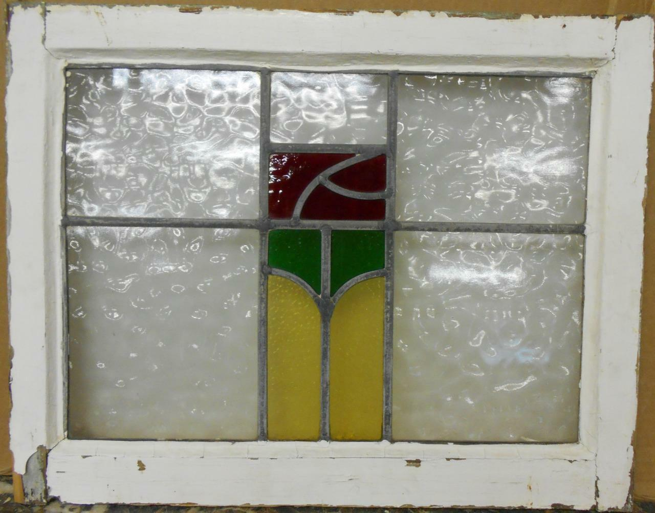 """MID SIZED OLD ENGLISH LEADED STAINED GLASS WINDOW Abstract Floral 23"""" x 18"""""""