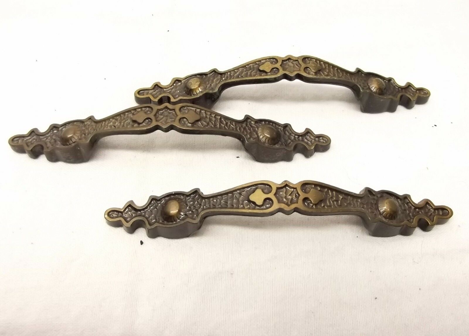 Vtg Brass Metal Dresser Hardware Ornate Cabinet Drawer Pull Handle Lot of 3