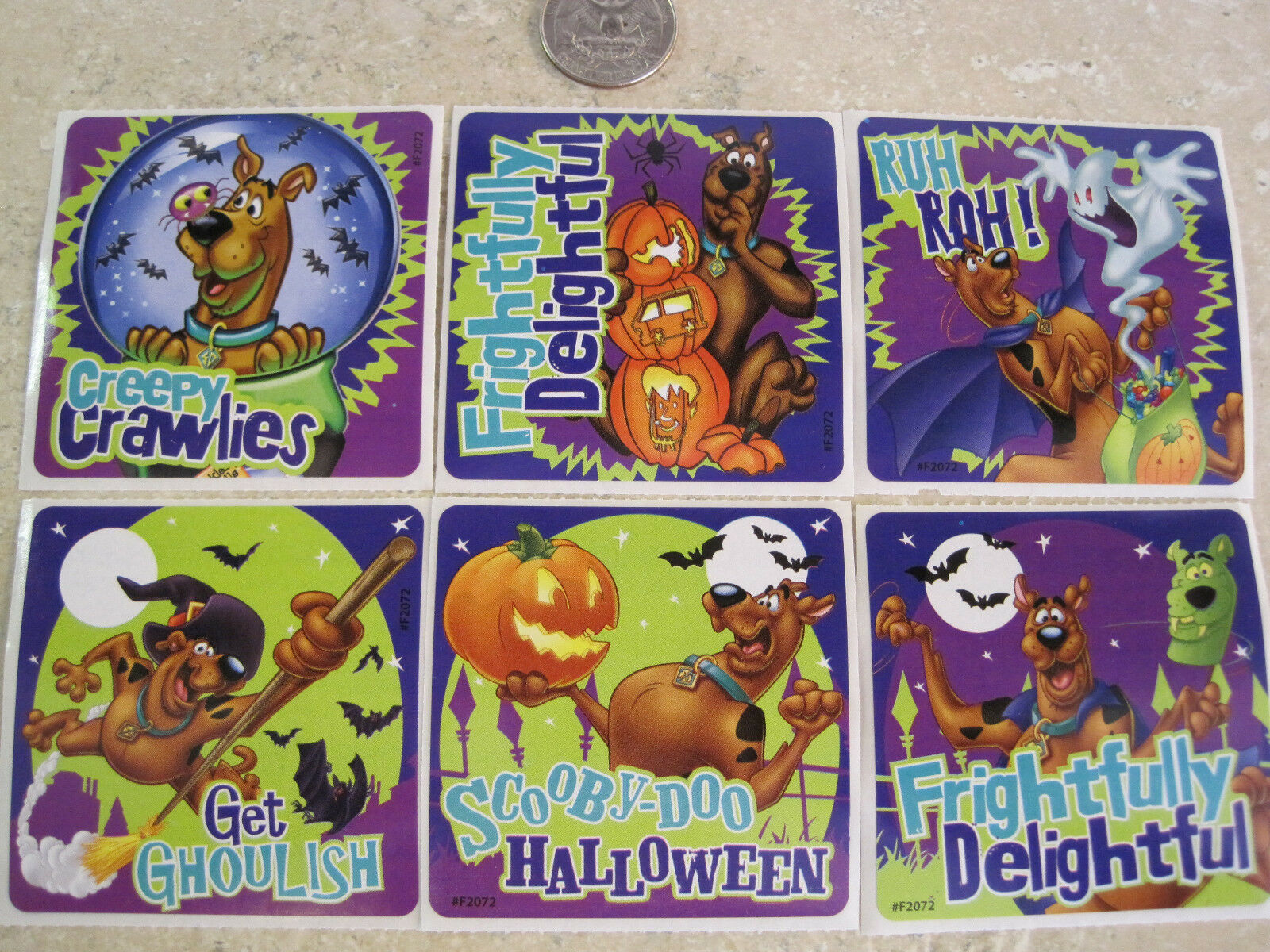 6 large * scooby doo stickers * halloween * witch * pumpkin