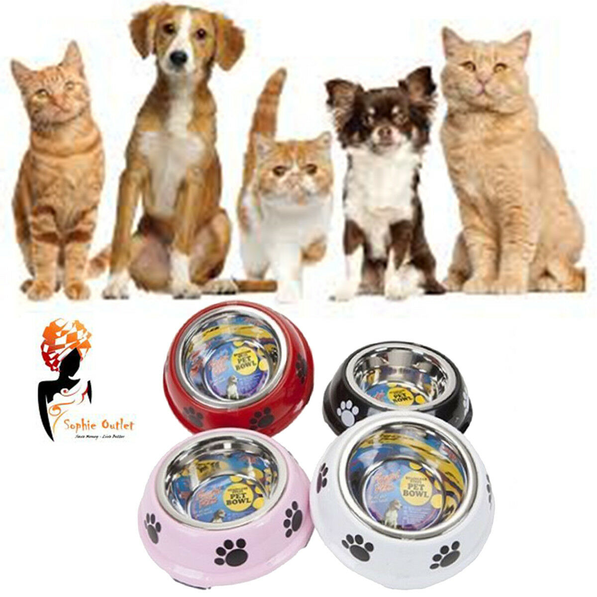 Small Stainless Steel Non Slip Pet Bowl Dog Cat Puppy Paws Food Water Feed Dish