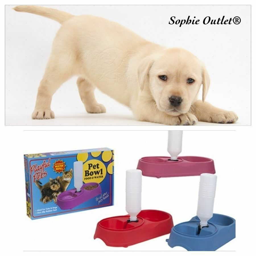 New Double Pet Bowl with Water Refilling Device Dog Cat Puppy Food Feed Dish