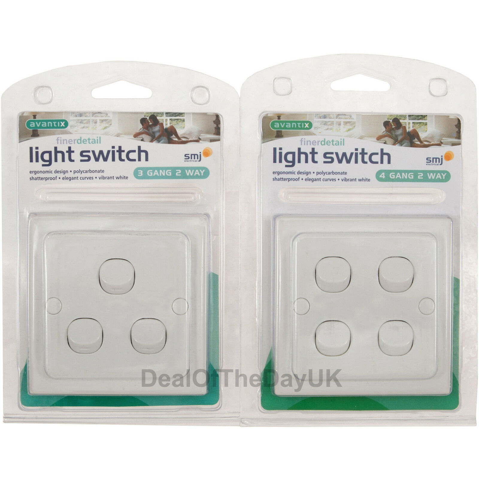 4 Or 3 Gang Light Switch White 2 Way Curved Plastic 240v Triple Quad Uk 1 Of 2free Shipping