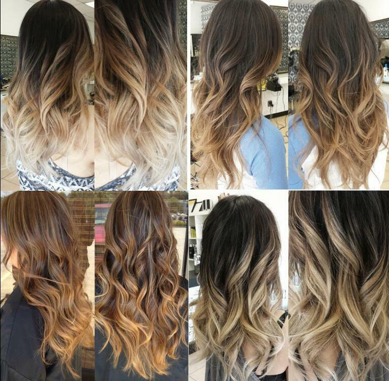 Full Head Clip In Hair Extensions Ombre Dip Dye One Piece Wavy Curly