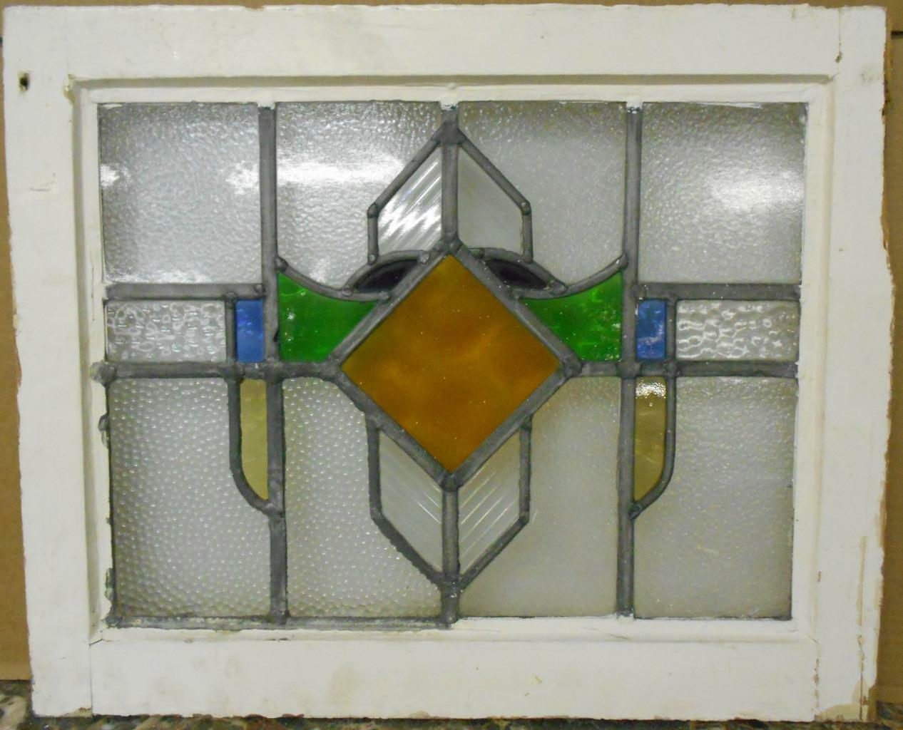 "OLD ENGLISH LEADED STAINED GLASS WINDOW Nice Geometric Design 20.5"" x 16.75"""