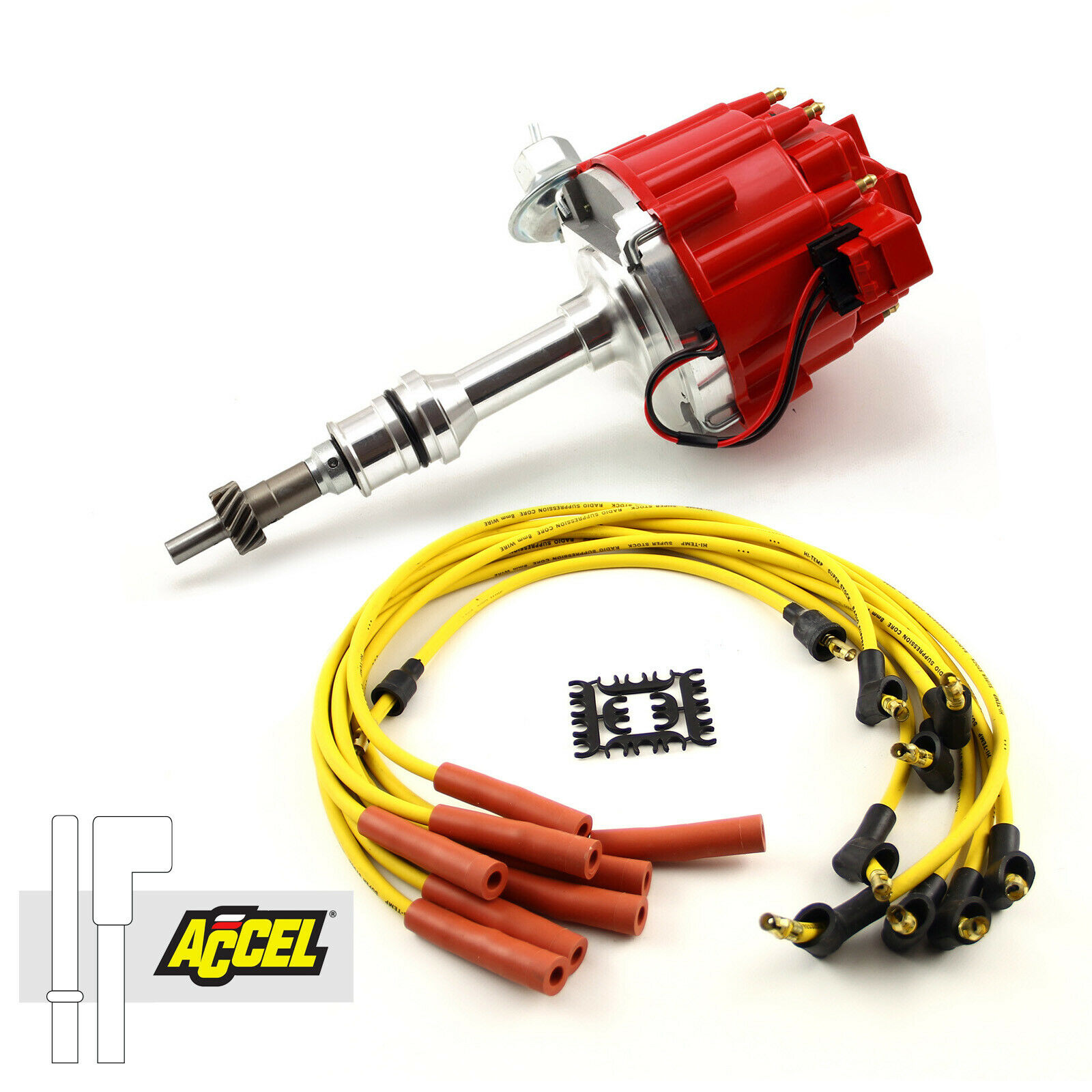 Ford SB 289 302 Windsor HEI Distributor Accel Spark Plug Wire Ignition  Combo Kit