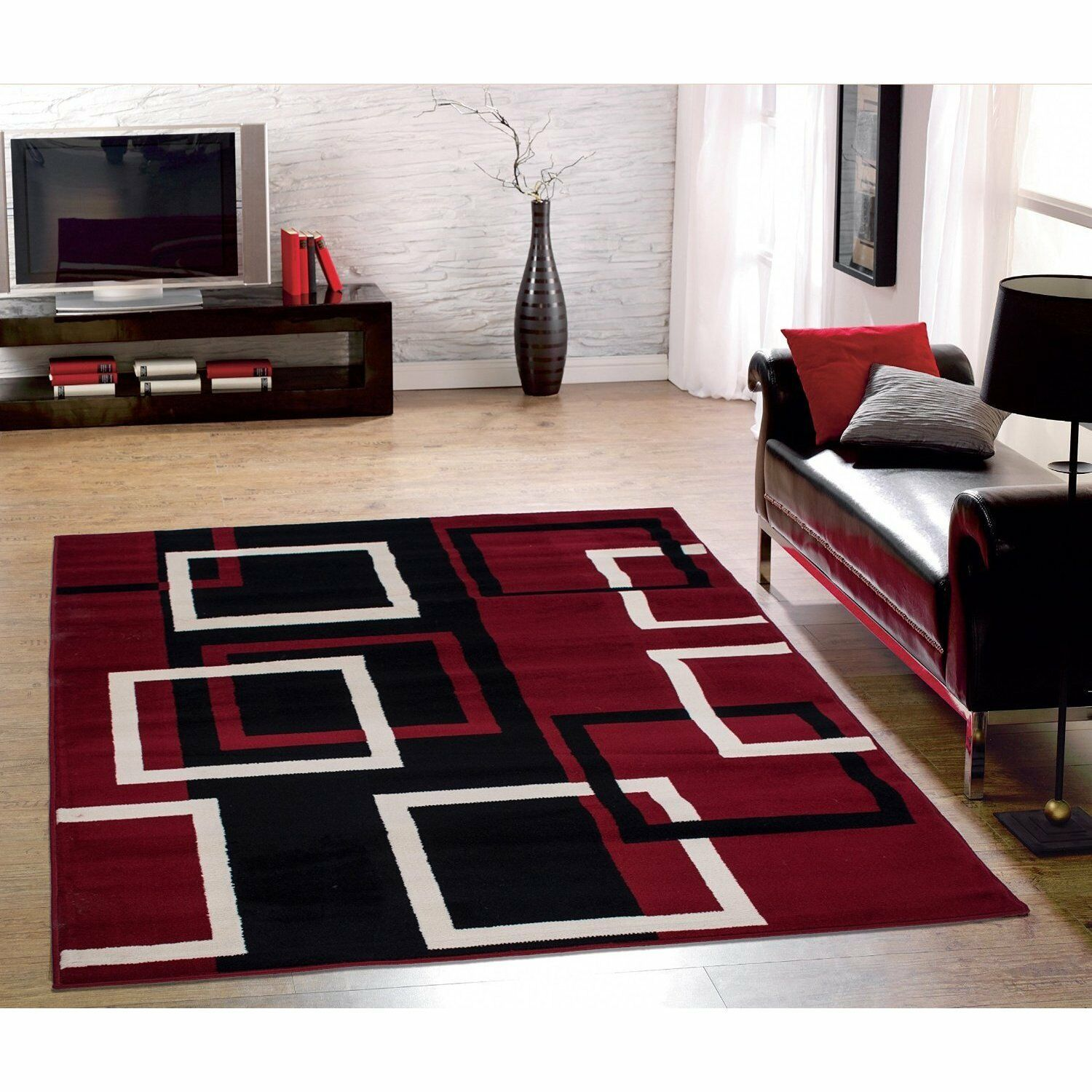 Sweet Home Modern Bo Dark Red Area Rug 5 X 7 6 47 44 Of See More