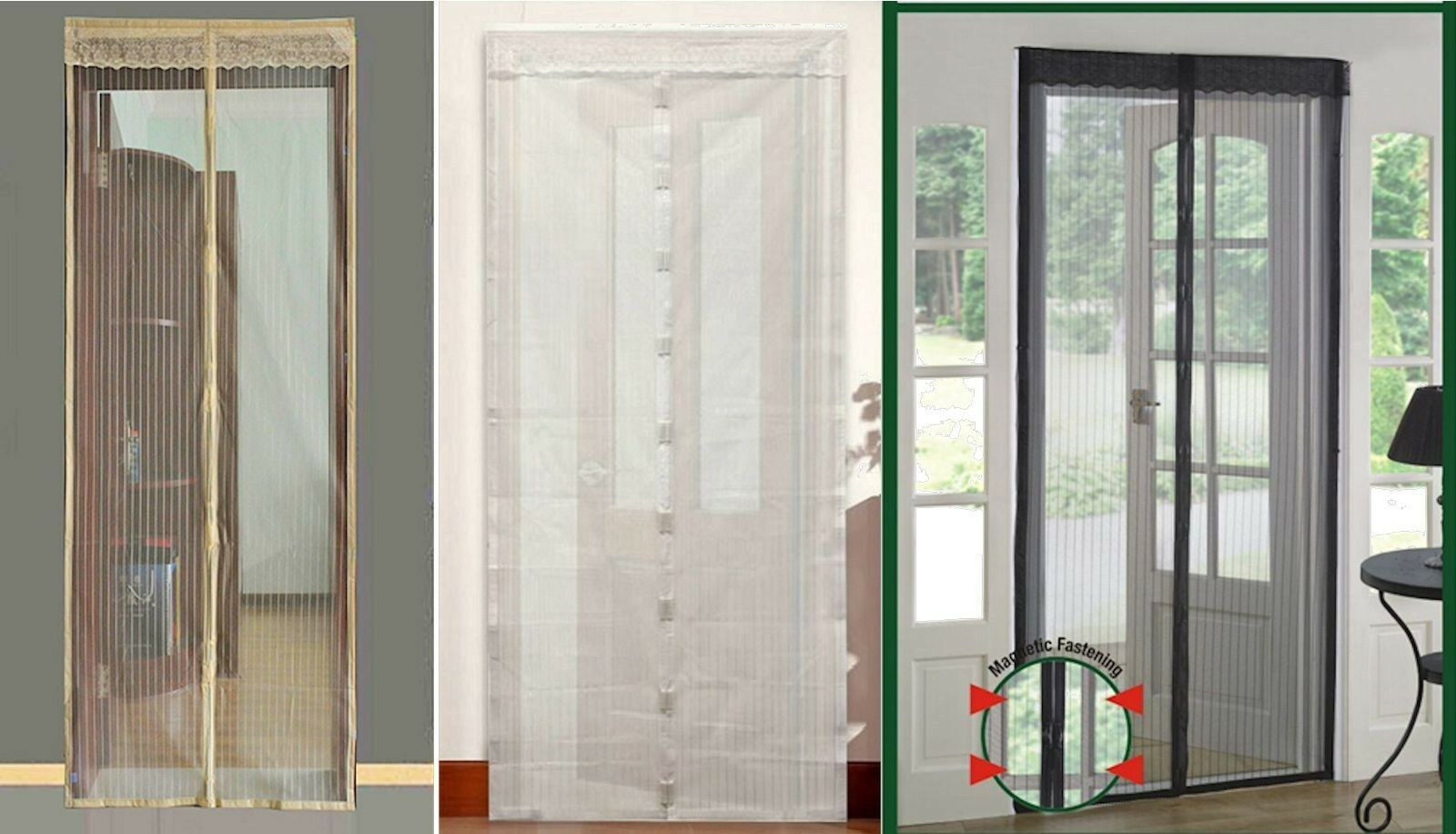 Snap Screen Door Mesh Magnetic Auto Fastening Fly Bug Insect Net