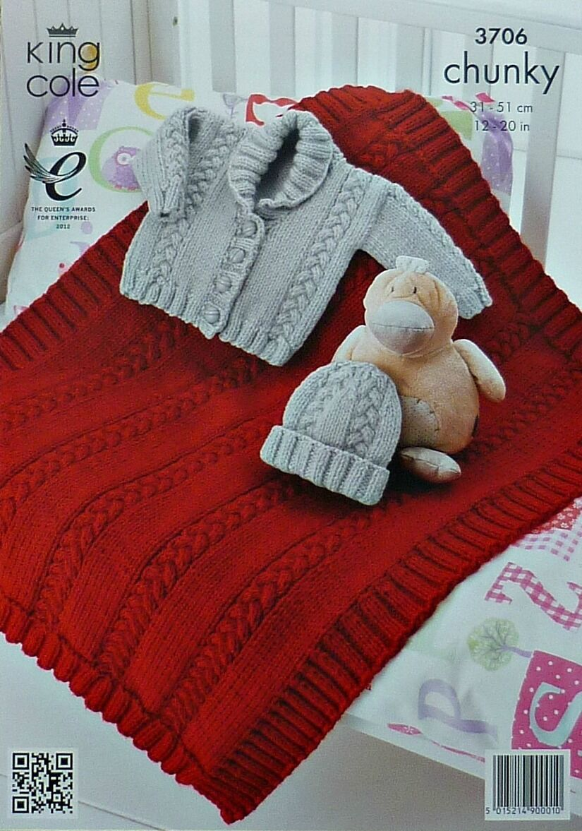KNITTING PATTERN Baby Long Sleeve Jacket Blanket & Hat Chunky King Cole 3...