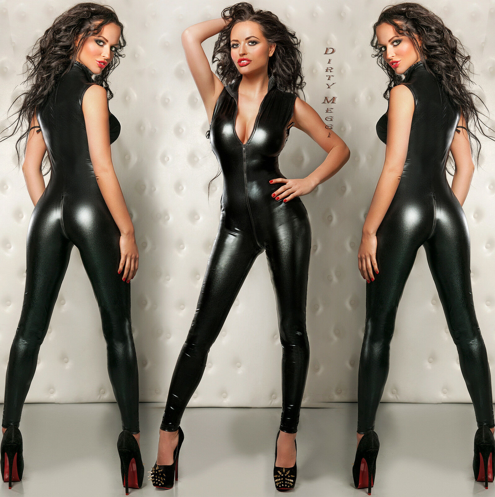 CATSUIT Clubwear Party GOGO OVERALL DESSOUS SCHWARZ Gr S M 36 38 WETLOOK