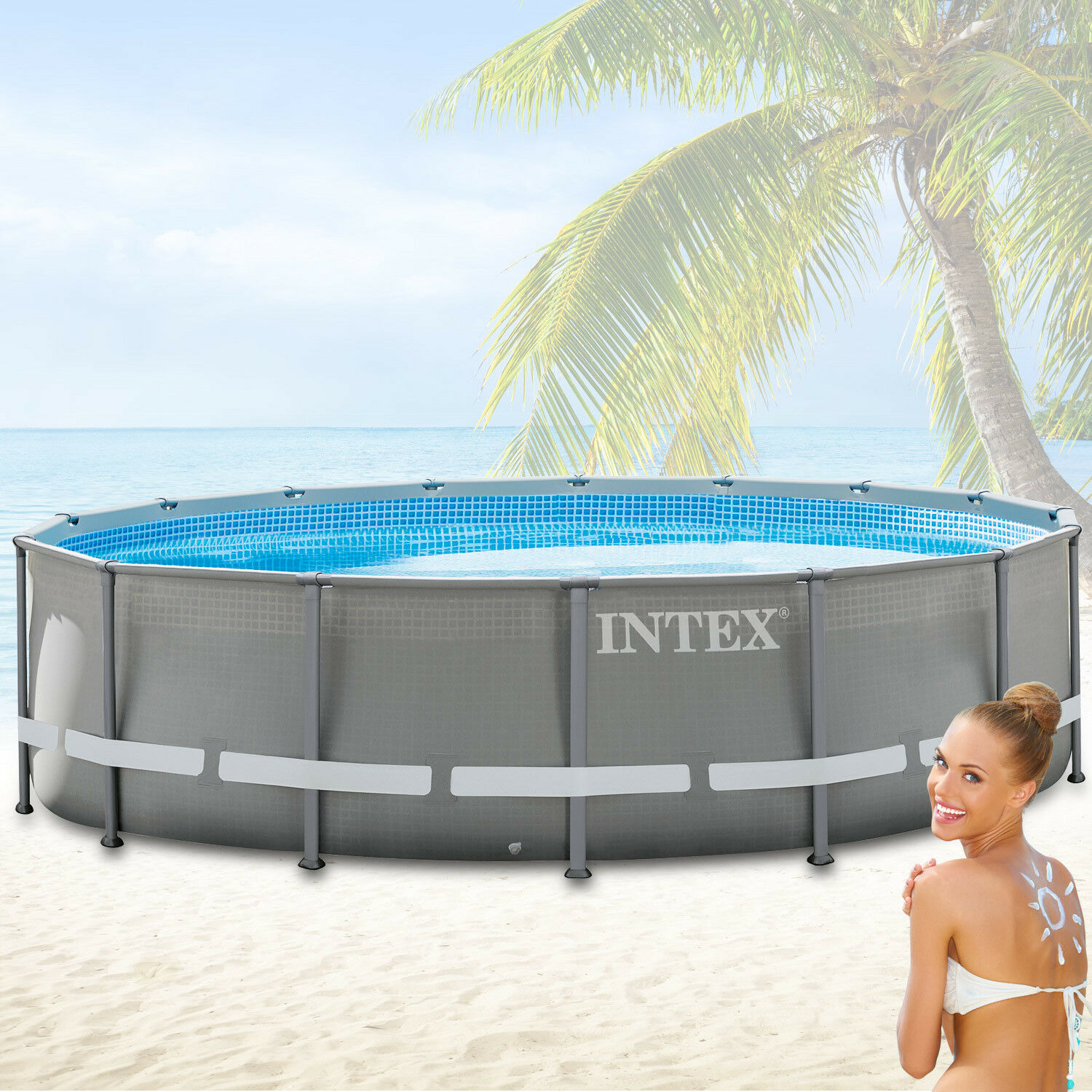 Intex 549x132 swimming pool frame stahlwandbecken for Swimmingpool stahl
