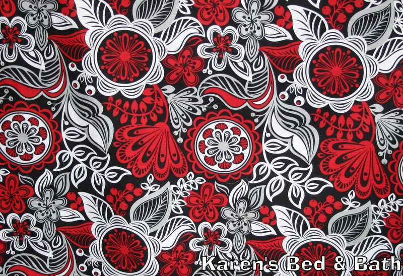red gray black white floral vines flower buds cotton fabric bty or