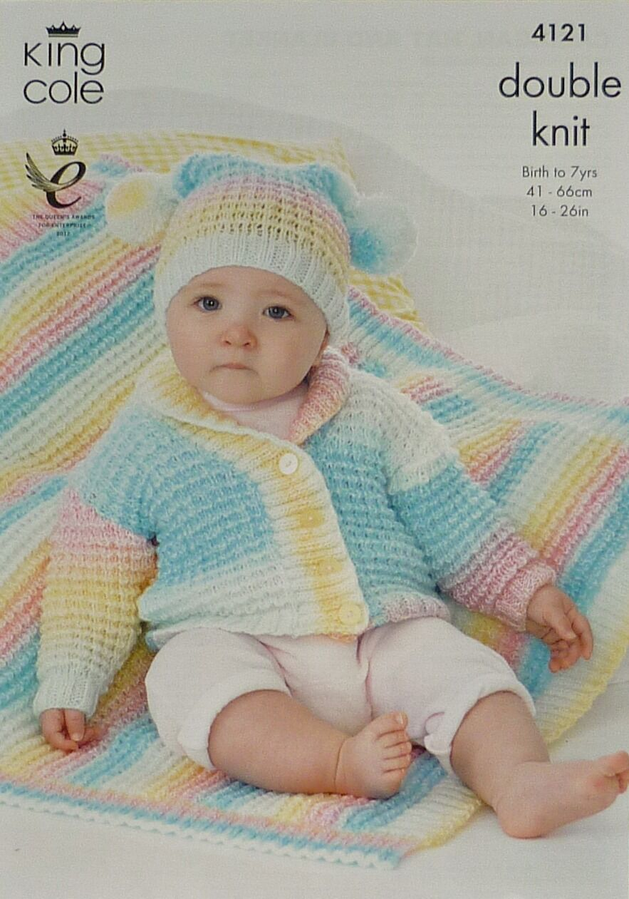 KNITTING PATTERN BABY\'S/CHILDRENS Roll Collar Jacket Teabag Hat ...