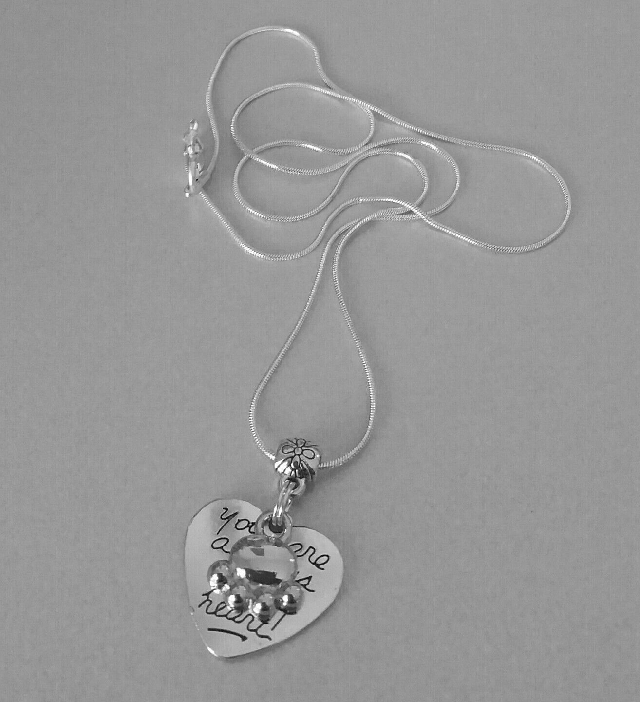 Always in my heart dog/cat paw silver plated necklace