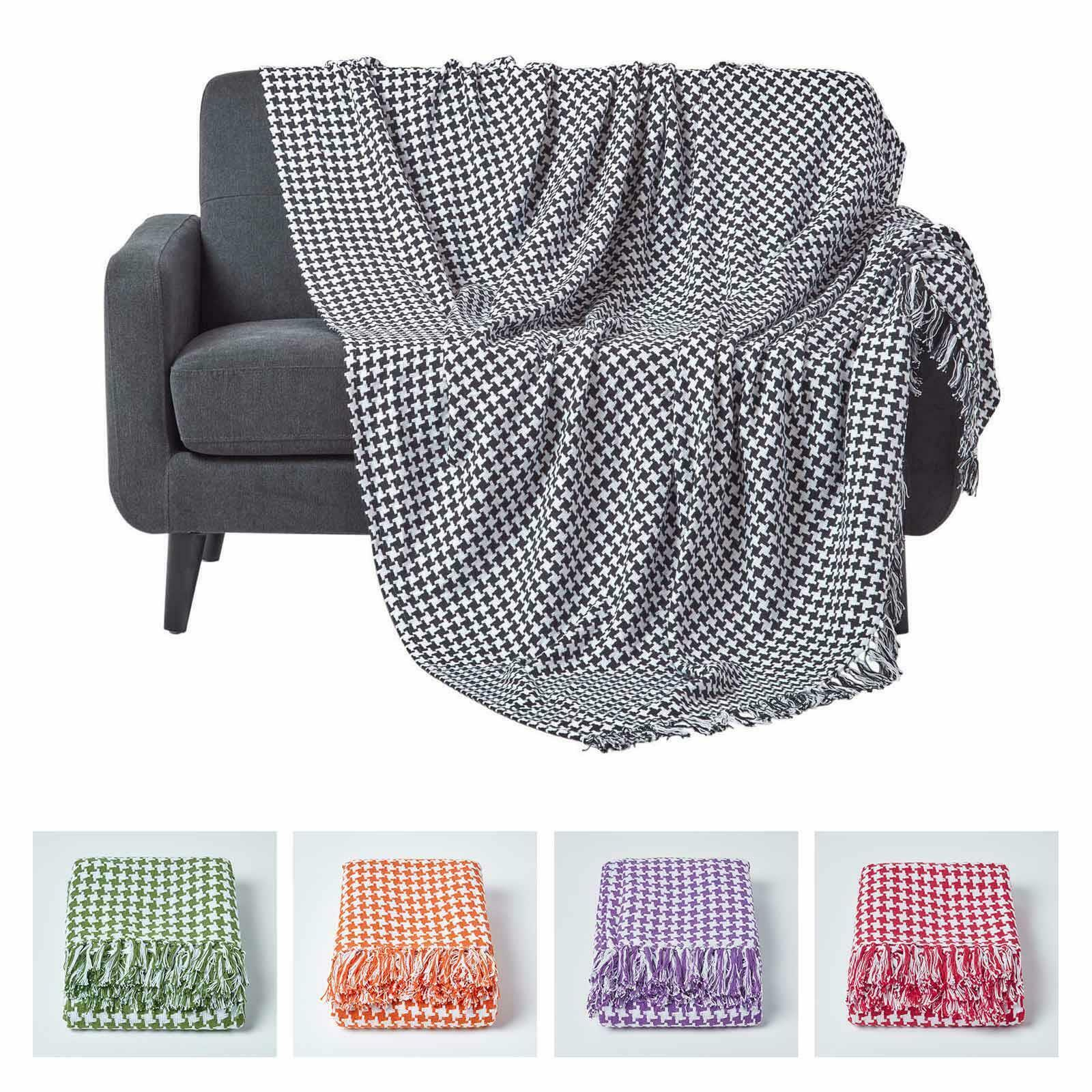 Houndstooth Cotton Check Extra Large Sofa Bed Throws Blanket Dogtooth Bedspreads 1 Of 1free Shipping