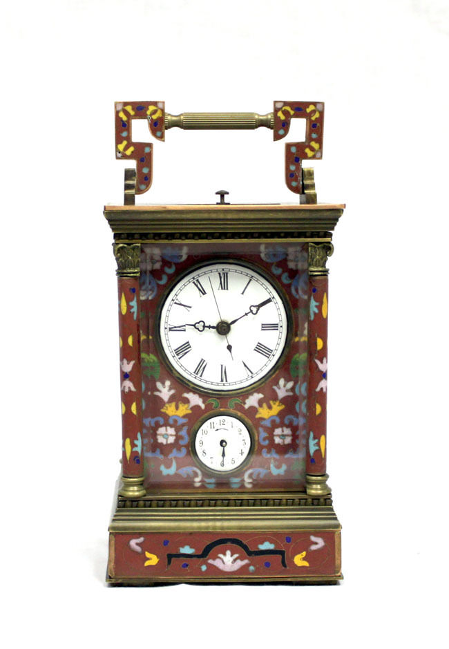 French Style Color Floral Red Cloisonne Repeater 4 Column Carriage Clock