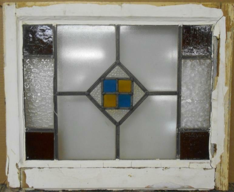 "OLD ENGLISH LEADED STAINED GLASS WINDOW Simple Geometric Design 21.75"" x 18"""