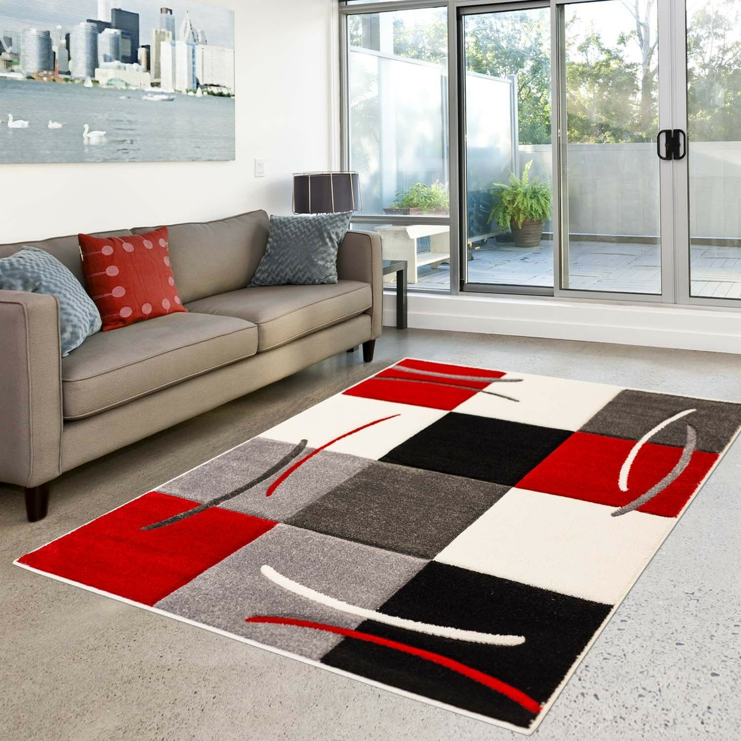 tapis moderne de haute qualit design salon mod le carreaux rouge grise cr me eur 39 58. Black Bedroom Furniture Sets. Home Design Ideas