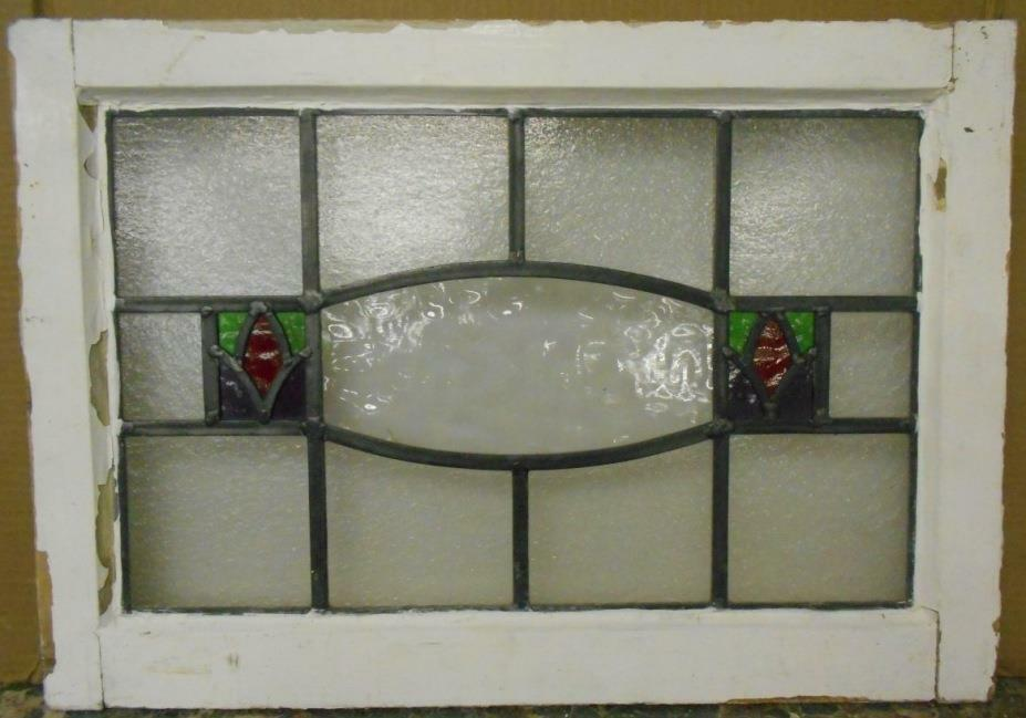 "MID SIZED OLD ENGLISH LEADED STAINED GLASS WINDOW Abstract Floral 24"" x 16.75"""