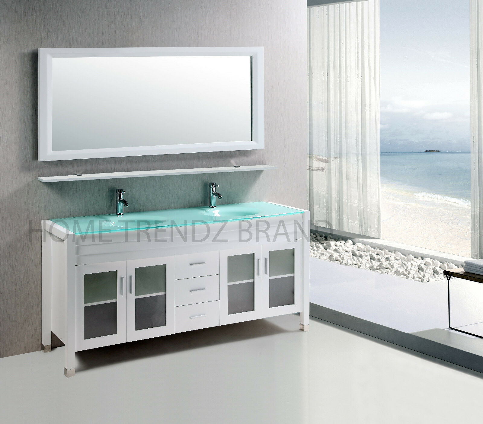 60 inch Double Sink Bathroom Vanity cabinet white with mirror & faucets 20white 1 of 2FREE Shipping ...