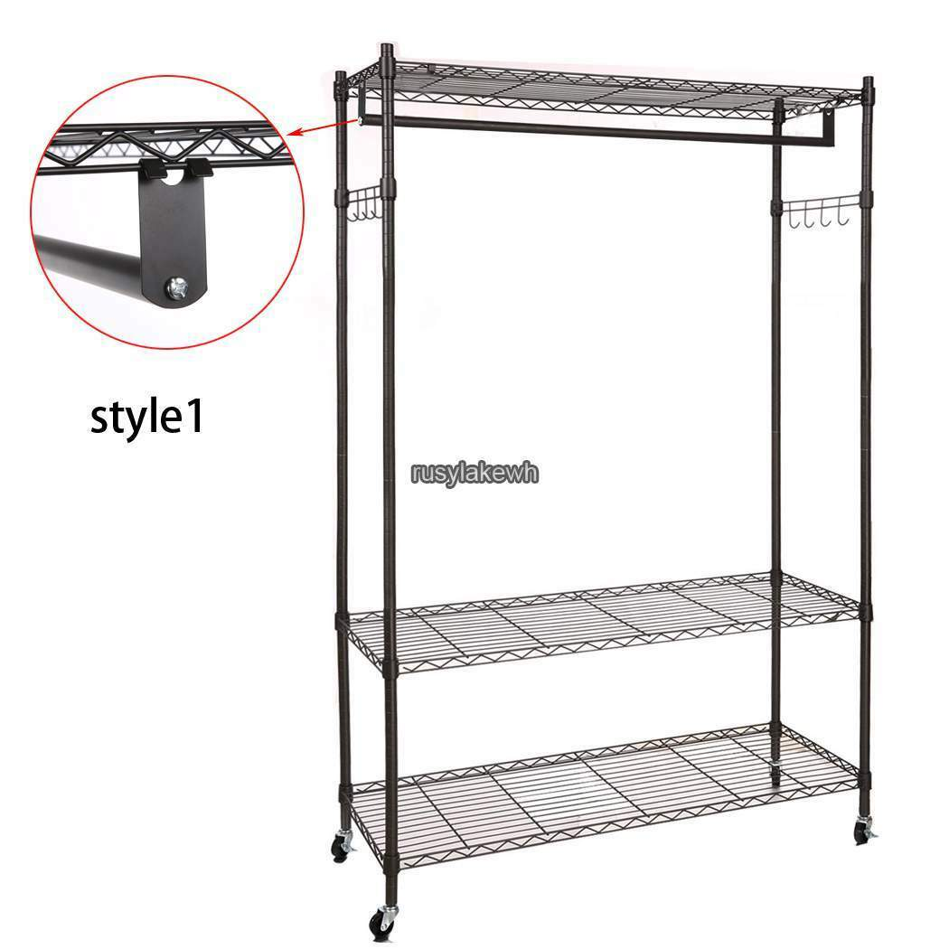 BLACK/GRAY 3 Tier 74inch Wire Shelving Clothes Garment Rack Rolling ...
