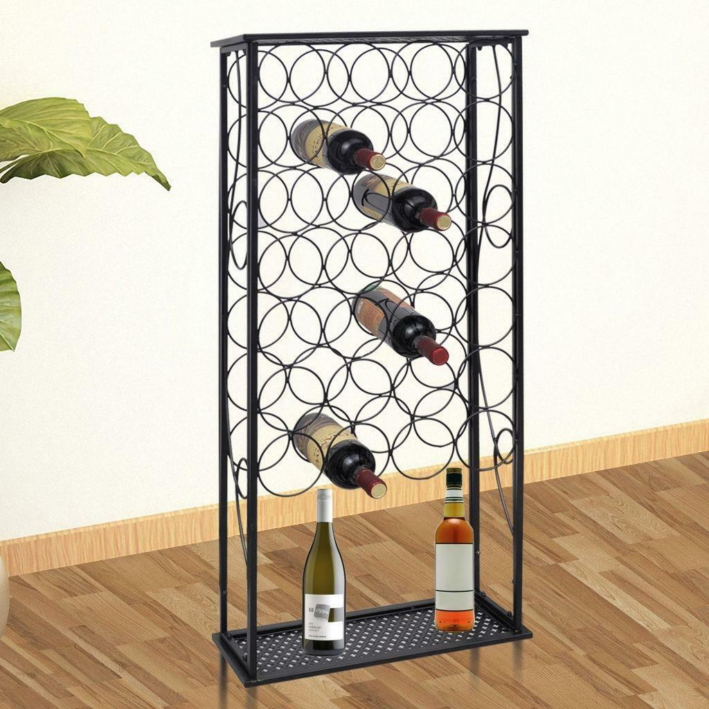 Metal Wine Home Bar Storage Holder Rack Floor Stand - Holds 28 Bottles - Black