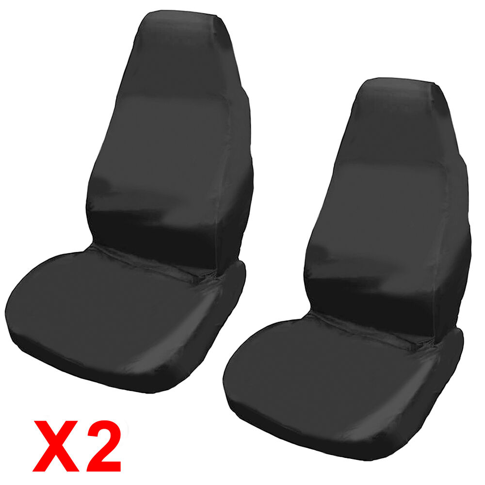 2x universal waterproof black front seat covers protectors for car van seats picclick uk. Black Bedroom Furniture Sets. Home Design Ideas