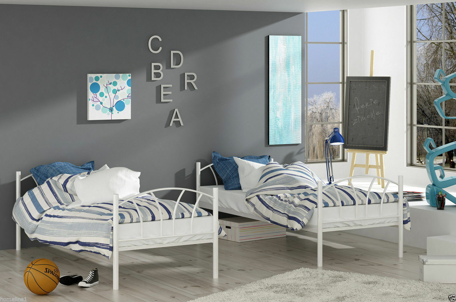weiss etagenbett hochbett metall 90x200 matratze lattenrost kinderbett bett wei eur 299 00. Black Bedroom Furniture Sets. Home Design Ideas