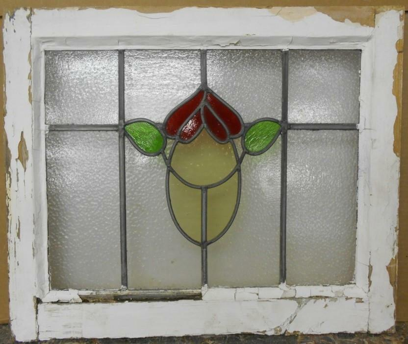 "OLD ENGLISH LEADED STAINED GLASS WINDOW Abstract Floral 20"" x 16.75"""