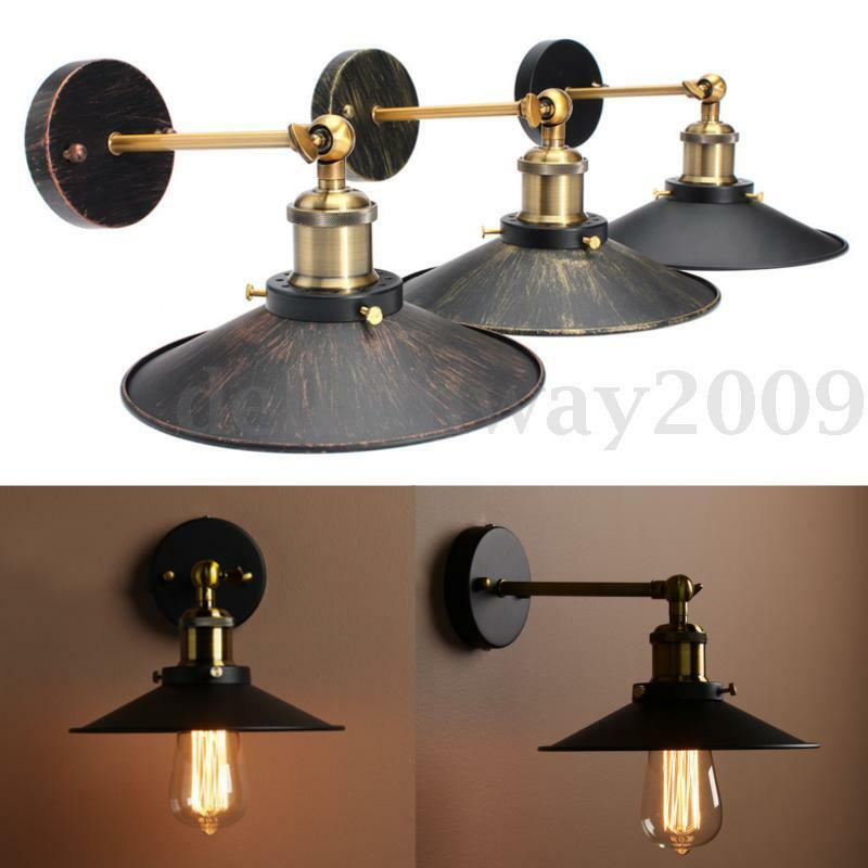 e27 vintage plat abat jour applique lampe loft murale spot edison bulb ampoule eur 2 84. Black Bedroom Furniture Sets. Home Design Ideas