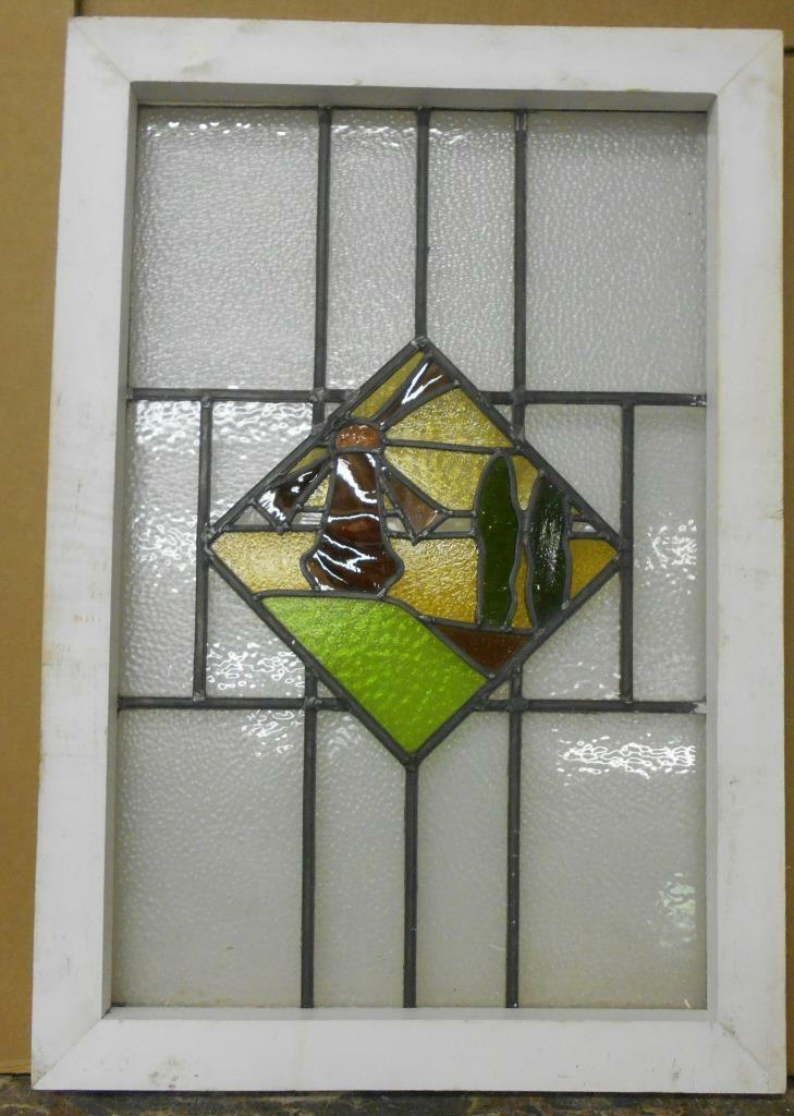 """OLD ENGLISH LEADED STAINED GLASS WINDOW Pretty Windmill Scene 19.5"""" x 28.25"""""""