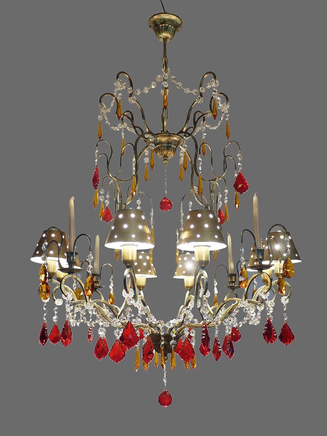 Huge Crystal& Wrought Iron CHANDELIER with 8 Bulbs + 4 Candles & Metal Shades