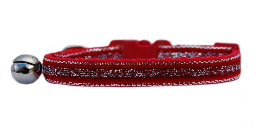 Red velvet with silver sparkle middle  safety kitten cat collar 3 sizes