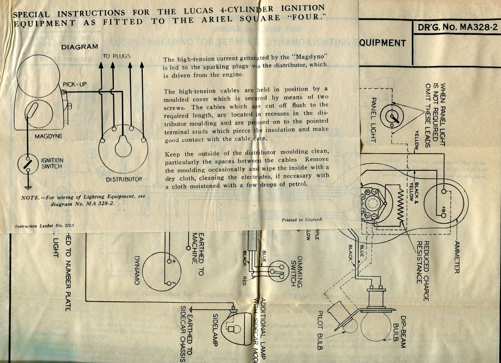 "Vintage LUCAS Wiring Diagrams - ""ARIEL"" Motorcycle + 1 of 3Only 1 available  ..."