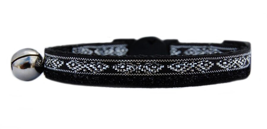 Black sparkle and silver   safety kitten cat collar 3 sizes