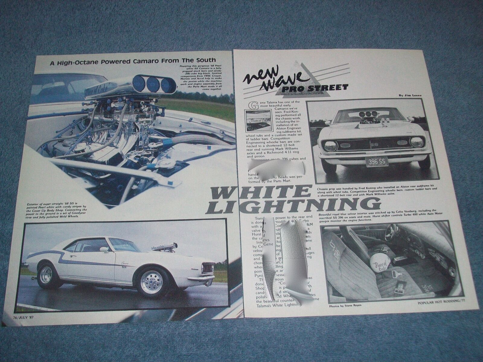 1968 Chevy Camaro Ss Vintage Pro Street Article White Lightning Chevrolet Rs Dub Edition 1 Of 1only Available