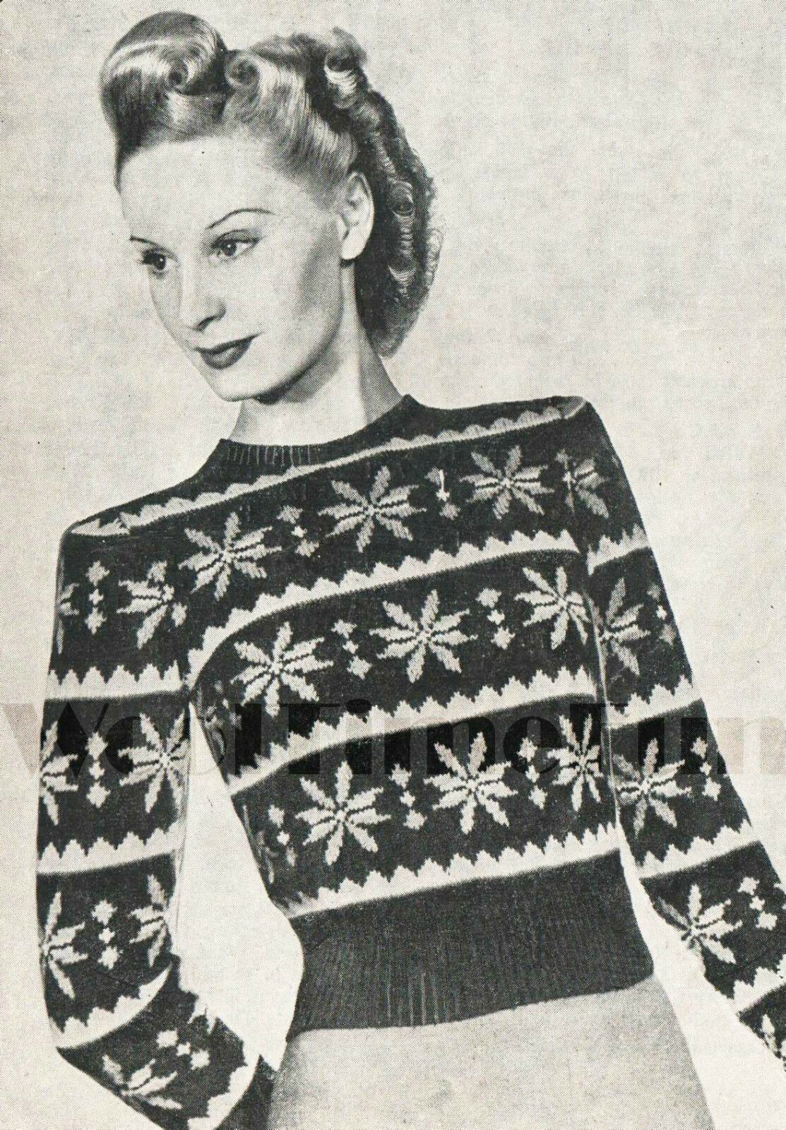 Snowflake Jumper Knitting Pattern : Vintage Knitting Pattern 1940s Ladys Fair Isle Jumper. Snowflake Christm...
