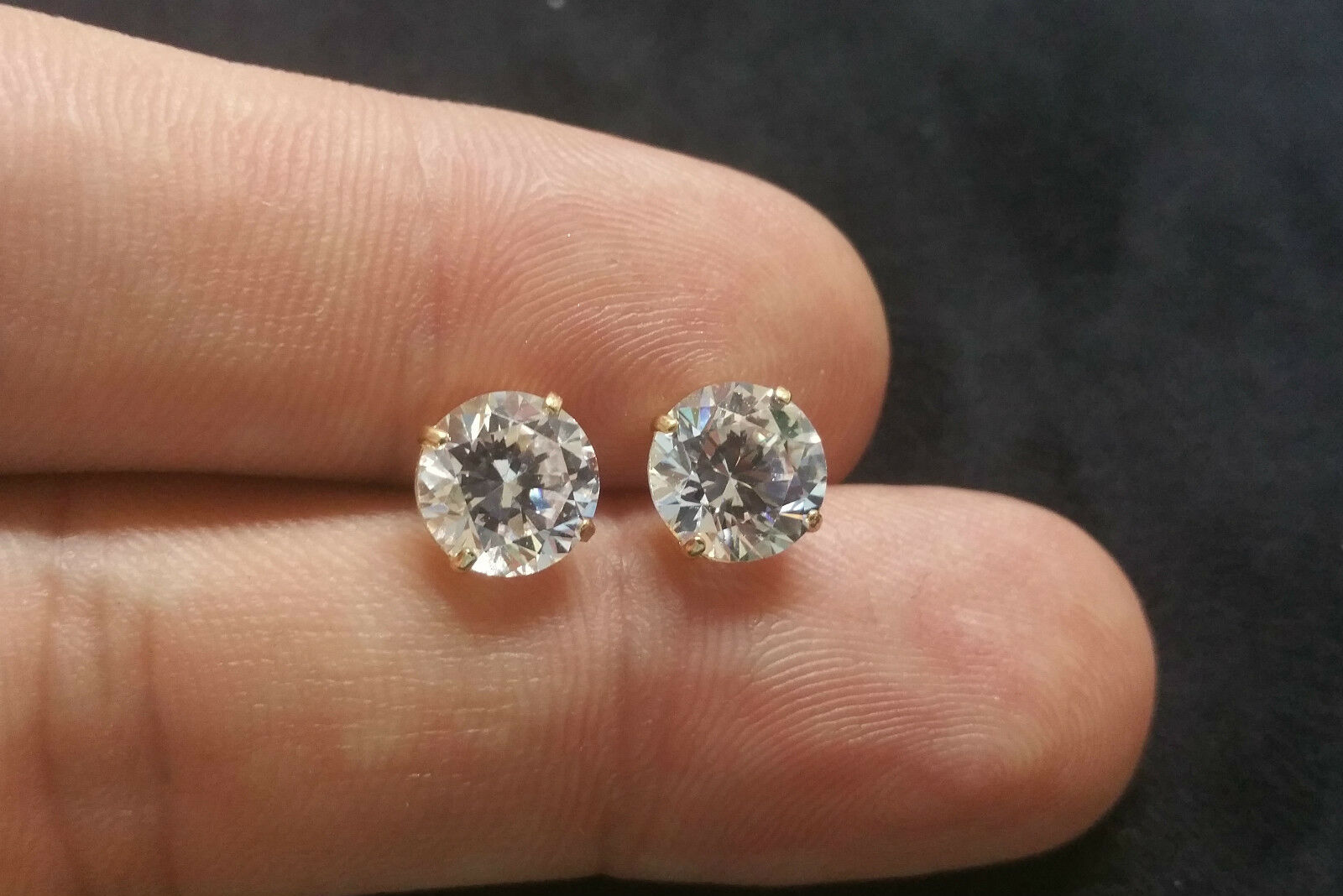 Brilliant Solitaire Man Made Diamond Earrings 5 5ct 14k Yellow Gold Studs 1 Of 4only Available