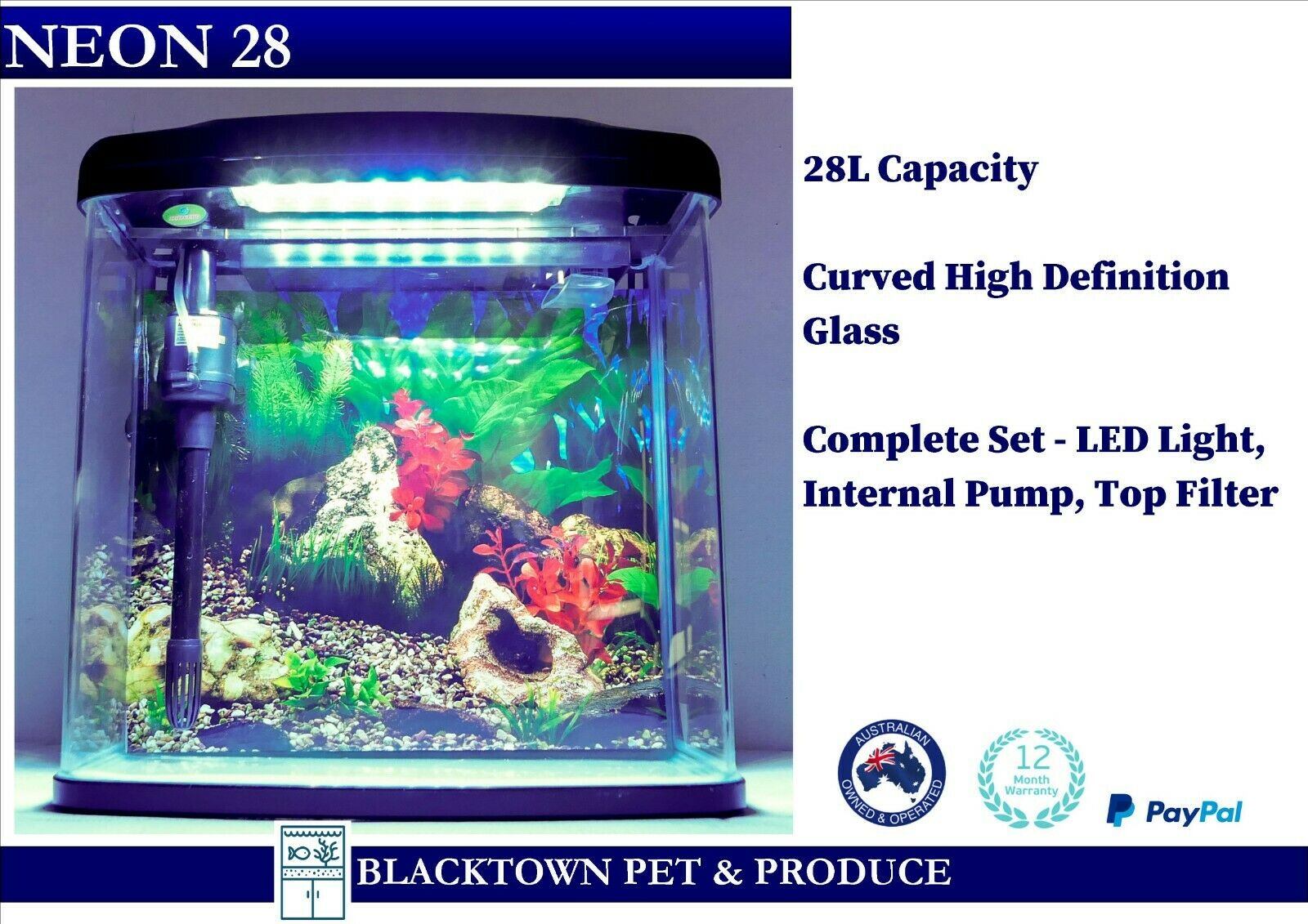 neon 28l fish tank aquarium with led and large top. Black Bedroom Furniture Sets. Home Design Ideas