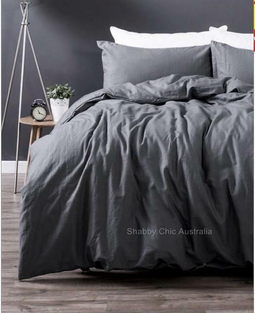 Shabby Paris Chic Charcoal French Grey Linen King Doona