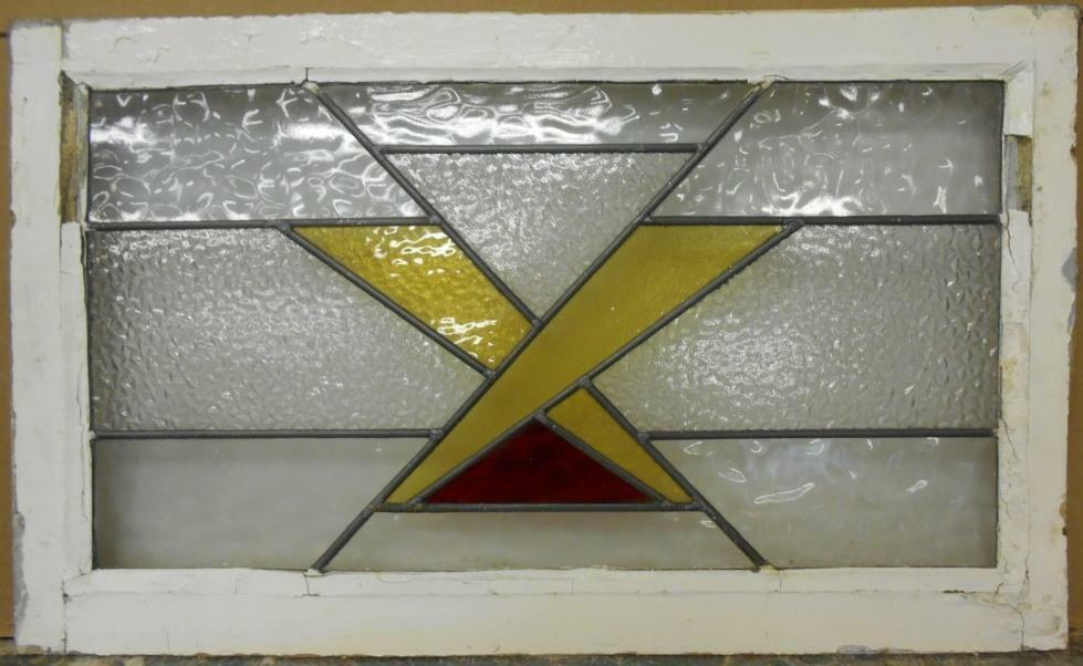 """OLD ENGLISH LEADED STAINED GLASS WINDOW TRANSOM Pretty Criss Cross 30"""" x 18"""""""