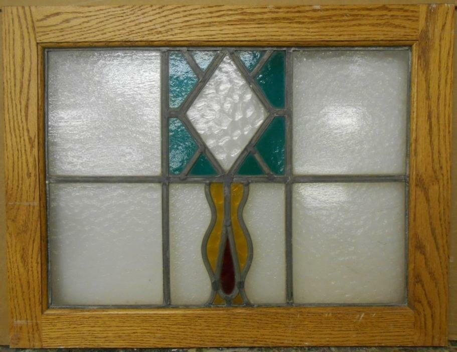 """MID SIZED OLD ENGLISH LEADED STAINED GLASS WINDOW Abstract Floral 22.5"""" x 17.25"""""""