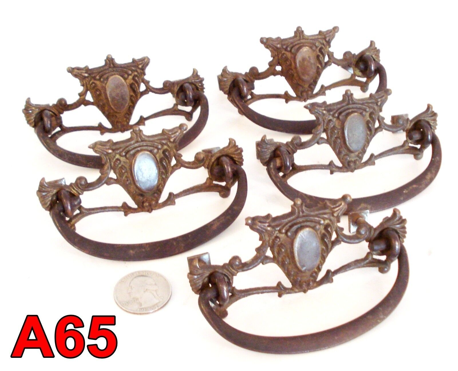 Set/5 Antique Victorian Cast Brass Furniture Pulls dresser drawer handle*A65